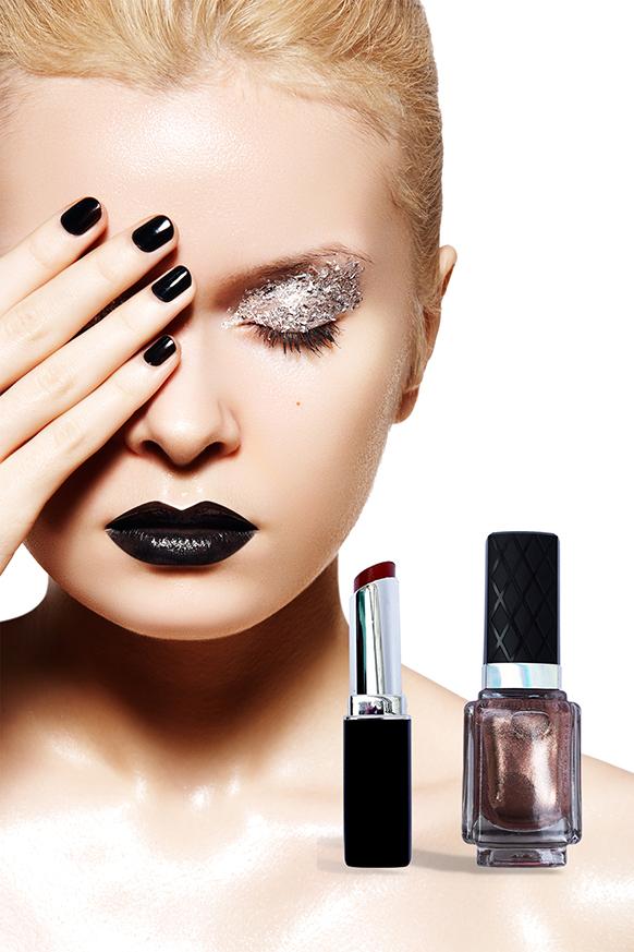Cai Cosmetics Creative Makeup Black Lipstick Nailpolish